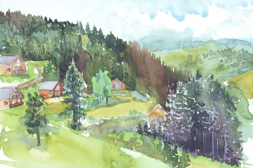 Mountain Chalet watercolor illustration