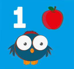 "#1 – ""Numbers for Kids"" set, a cute sparrow with one apple. Learn number and counting with kids."