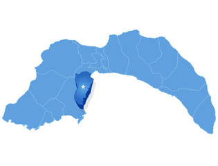 Map of Antalya - Kemer is pulled out