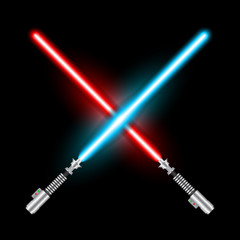 Crossed light swords of Jedi based on the movie Star War. Blue and red swords