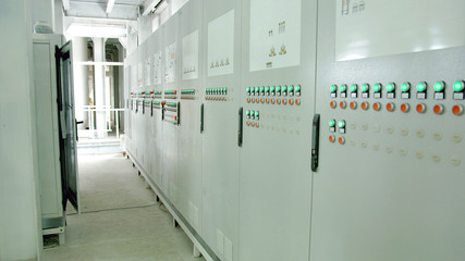 Factory control panel with buttons