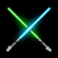 Crossed light swords of Jedi based on the movie Star War. Green and blue swords