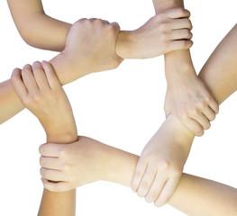 Ring of hands teamwork