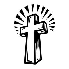 Christian Cross Crucifix vector icon