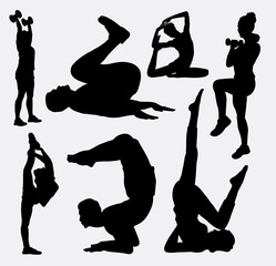 Aerobic man and woman sport show silhouette. Good use for symbol, logo, avatar, mascot, web icon, sticker, or any design you want. Easy to use.