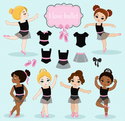 Vector illustration of little ballerinas and other related items.