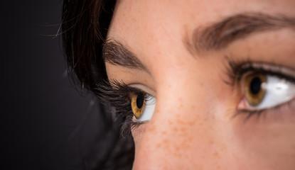 Woman eyes with long eyelashes.