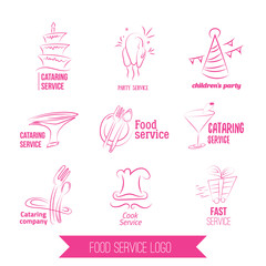 catering service logo. Colorful catering design. Catering, outdoor events, restaurant service, birgday, weddings isolated on white background.