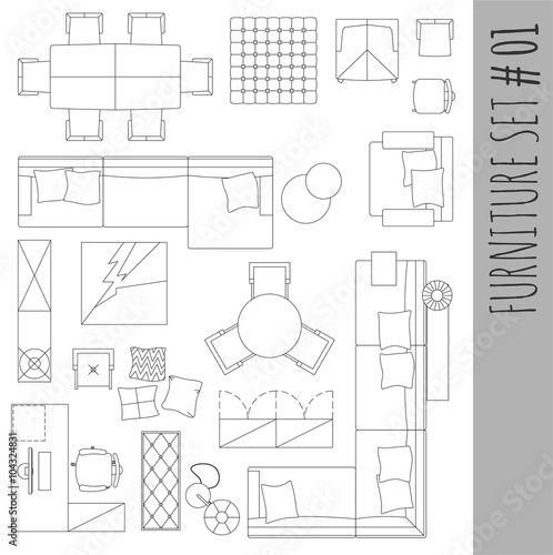 Quot Standard Furniture Symbols Used In Architecture Plans