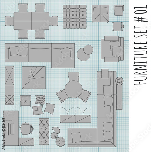 Standard Furniture Symbols Used In Architecture Plans Icons Set Graphic Design Elementshome Planning Icon SetLiving Room