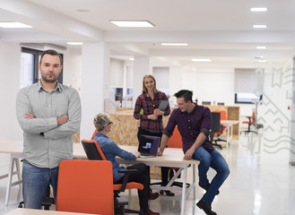 startup business, businessman portrait at modern office, team br