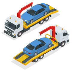 Tow truck isometric vector. Car towing truck 3d flat illustration. Tow truck for transportation faults and emergency cars isometric illustration isolated on white background. City transport