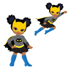 Cute Girl superhero in flight and in standing position.Vector illustration isolated on white background.