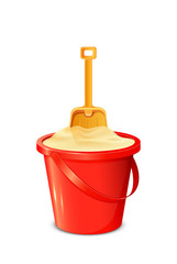 Bucket with shovel and sand