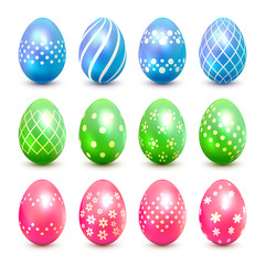 Blue green and pink Easter eggs