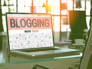 Blogging Concept. Closeup Landing Page on Laptop Screen in Doodle Design Style. On Background of Comfortable Working Place in Modern Office. Blurred, Toned Image. 3D Render.