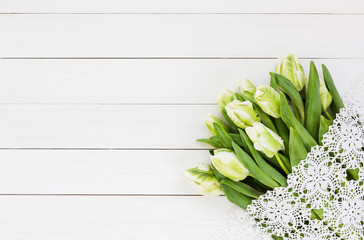 Bouquet of white tulips. Top view, copy space