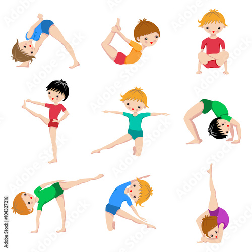 Gym Sketch Exercices Poster Kids Yoga Poses Gymnastics Healthy Lifestyle Children Workout Set Sport Asana Stock Image And Royalty Free Vector