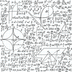 "Vector seamless pattern with mathematical formulas, equations and figures, ""handwritten on the copybook paper"""