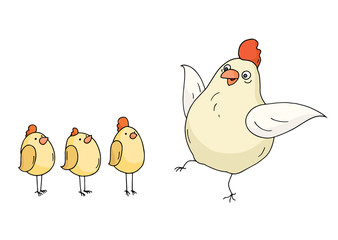 Doodle funny hen and chikens standing together. Cartoon chiken family isolated on white background. Hand drawn vector illustration.