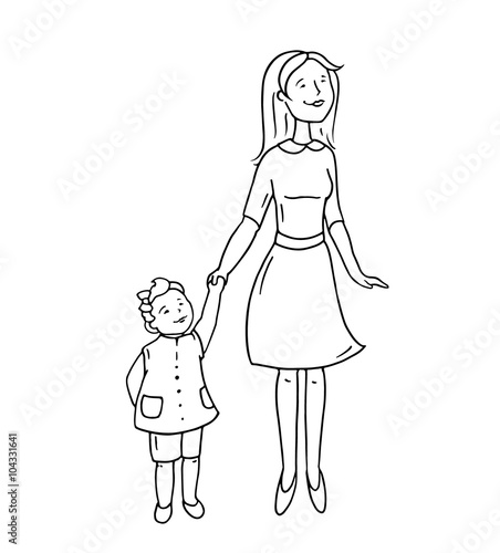 Happy Cute Parent And Child Standing Together Cartoon Doodle Mother Little Dauther Smiling