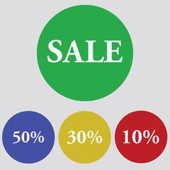 Flat design sale discount. Vector Illustration, eps10, contains transparencies