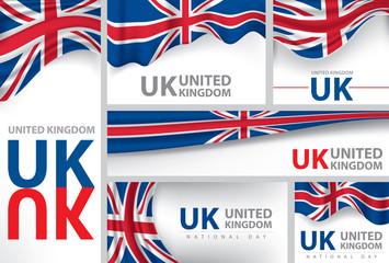 Abstract United Kingdom Flag, English Colors (Vector Art)