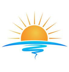 Sun sea waves logo vector