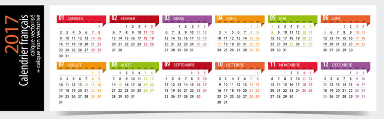 Photos illustrations et vid os de calendrier fran ais 2017 - Calendrier design ...