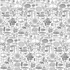 Barbecue party doodle seamless pattern