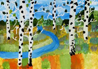 """Детский рисунок """"Осенний пейзаж"""""""