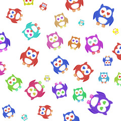 pattern. A lot of colorful owls.