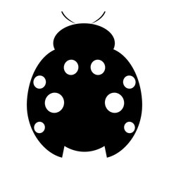 Vector illustration of insect. Icon of simple black and white ladybug, isolated over white background