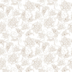 Floral Paisley Pattern. Seamless Asian Textile Background