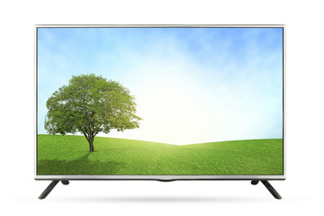 New TV grassland field  landscape isolated on white background.