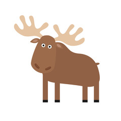 Moose elk. Cute cartoon funny character. Forest amimal collection. Isolated. White background.