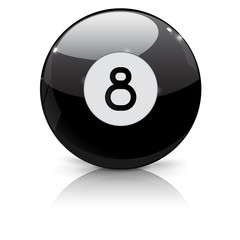 Billiard eight ball. Black ball 8.