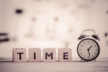 Cubes with the word time