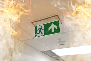Emergency exit - fire in the office Wall mural