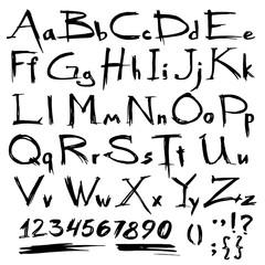 Hand drawn grunge alphabet written with a brush. Vector illustration.