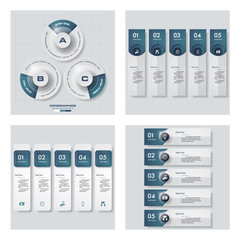 Collection of 4 blue color template/graphic or website layout. Vector Background.