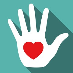 Hand with red heart symbol. Vector