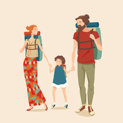 Vector illustration of a happy family traveling with a child