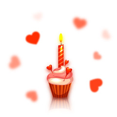 Birthday cake with candle. Hearts on background. Vector illustration.