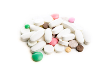 pile of tablets isolated