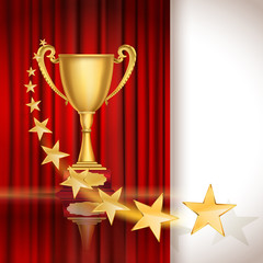 Golden sports cup on red curtain background with stars. vector