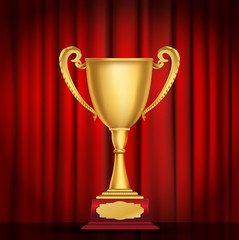 trophy golden cup on red curtain background. vector illustration