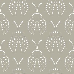 Seamless vector pattern with insects, symmetrical grey and white background with decorative closeup ladybugs,  on the white backdrop. Series of Animals and Insects Seamless Patterns.