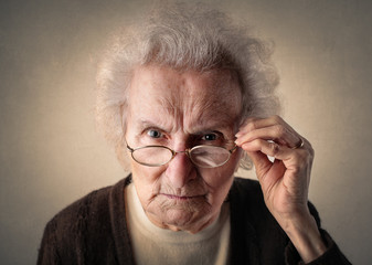 Concentrated elderly woman