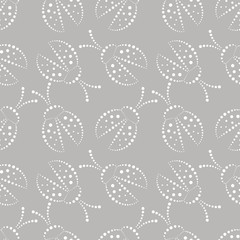 Seamless vector pattern with insects,  chaotic grey and white background with decorative closeup ladybugs,  on the blue backdrop. Series of Animals and Insects Seamless Patterns.